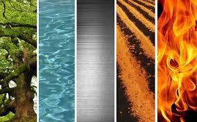 bandas estrechas verticales con imágenes de los 55 elemento: vegetal, de agua, metal, tierra y fuego